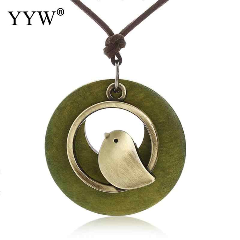 1PCS woman jewelry statement necklaces & pendants Bird Wooden Bead pendant vintage Long pendant necklace women chrismas gift