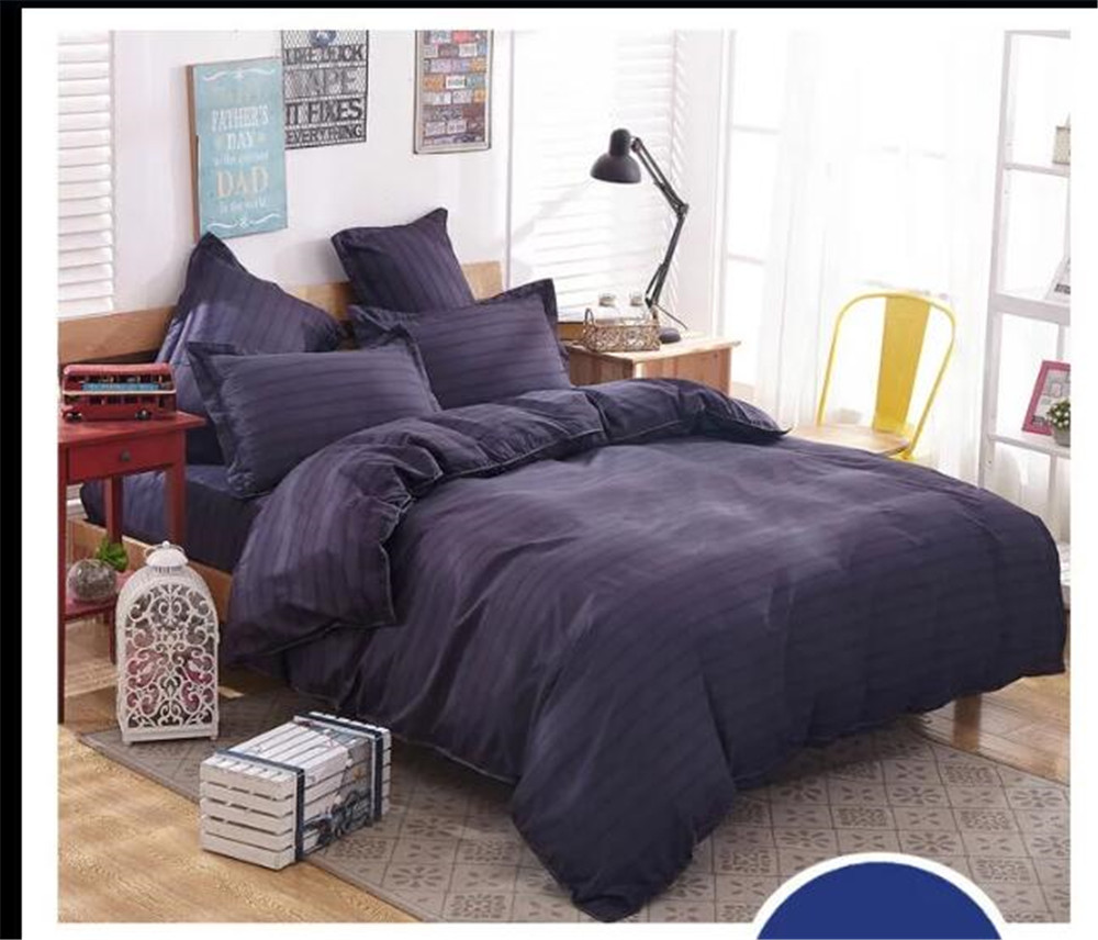 Solid dark purple bedding - Solid Dark Blue Bedding Bed Sets Queen King Twin Kids 4 5 Pcs Plaid Quilt