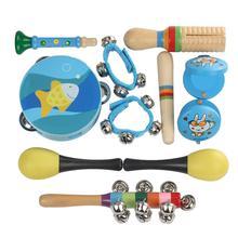10 шт./компл. Orff детский перкуссионный набор инструментов индикатор ритма Тамбурин Маракас с случайным цветом и рисунком для детей