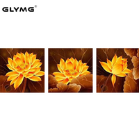 GLymg Diamond Drawing Lotus Triptych Diamond Embroidery Full Square Diamond Painting Cross Stitch Needlework European Home Decor