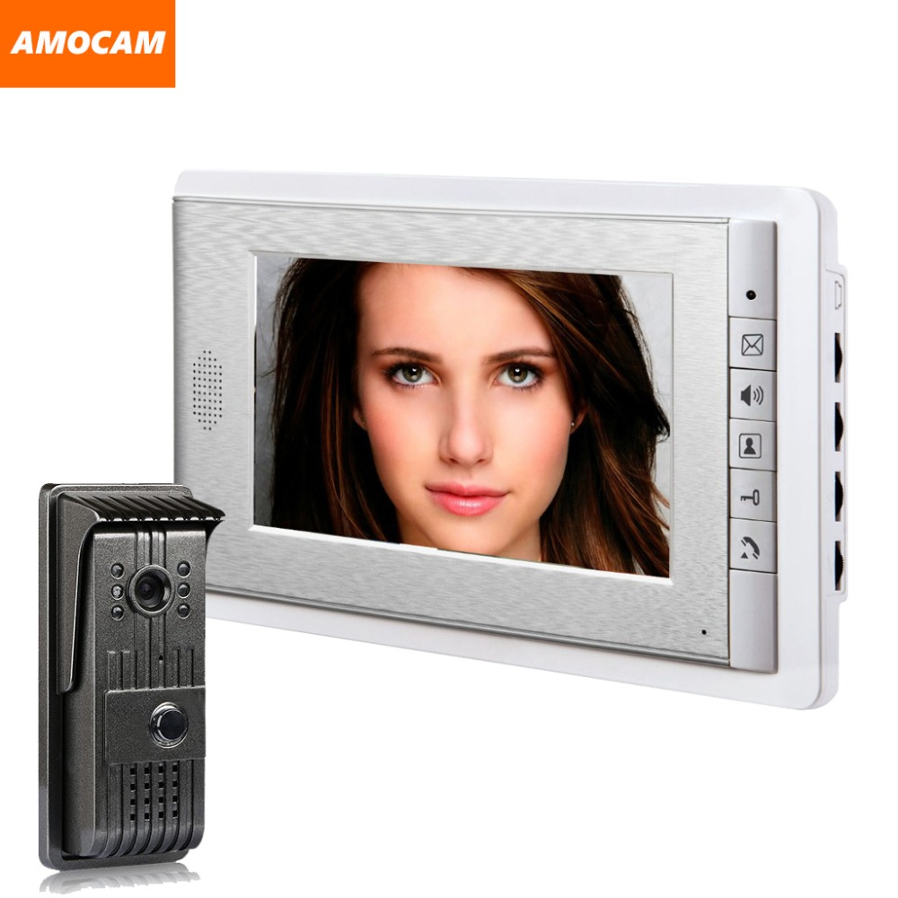 1 Camera 1 Monitor 7 inch video door phone intercom system video doorbell intercom wired video doorphone interphone Kit door intercom video cam doorbell door bell with 4 inch tft color monitor 1200tvl camera