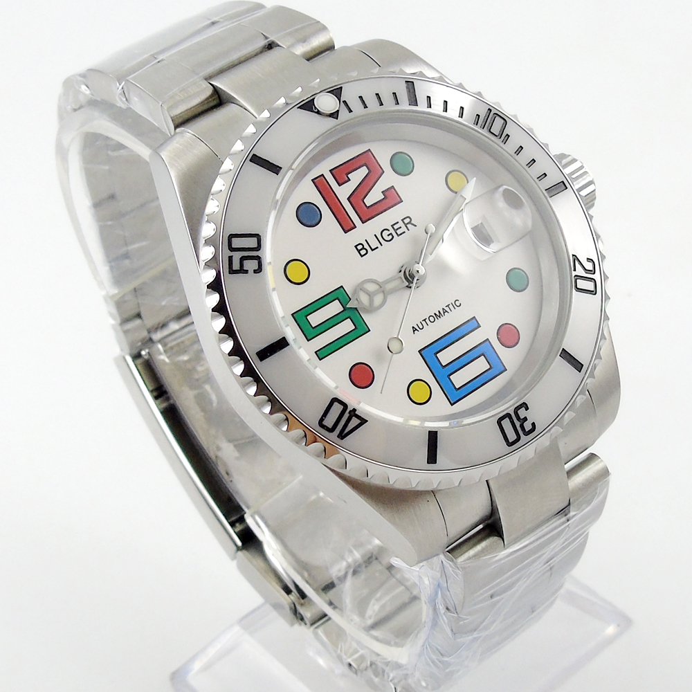 40mm Bliger white dial ceramic bezel date automatic movement mens unsex watch 40mm parnis white dial vintage automatic movement mens watch p25