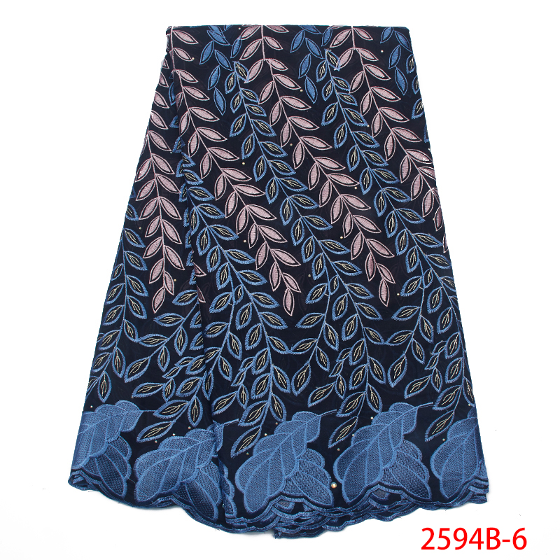 2019 Best Selling Swiss Voile Lace In Switzerland African Fabric Laces Latest Nigerian Embroidery Cotton With Stones KS2594B-6