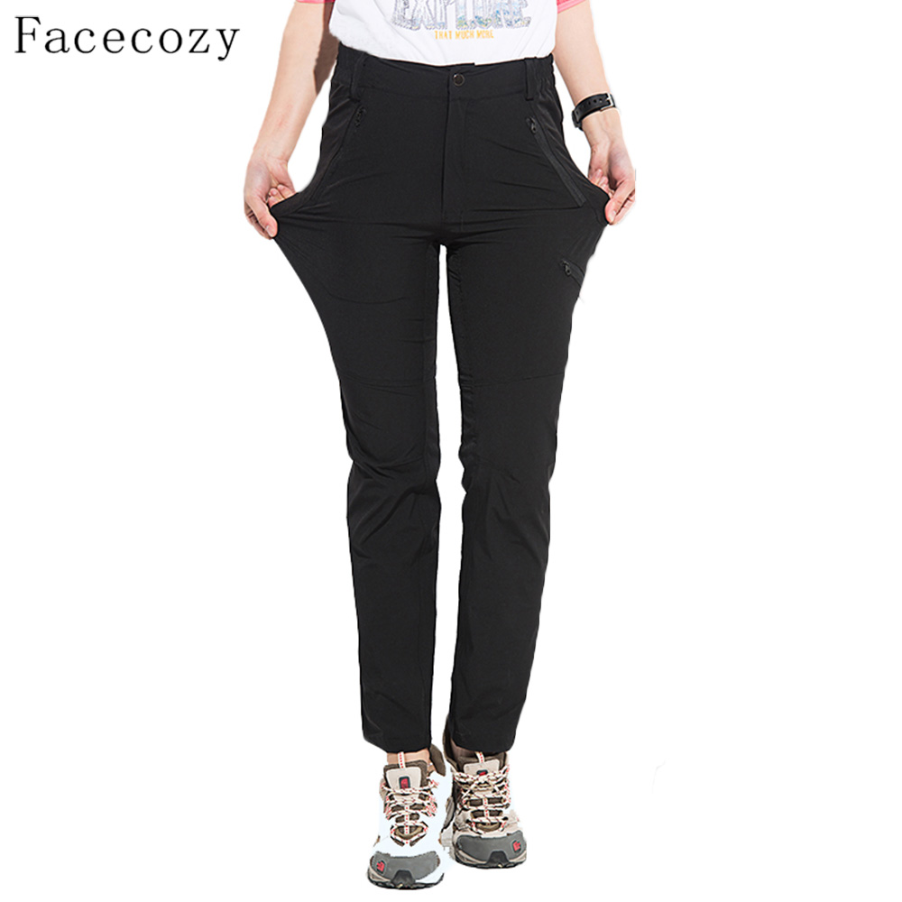 Facecozy Women Summer Thin Outdoor Hiking Pants Quick Dry Elastic Slim Comfy Breathable Plus Size Trousers Camping Sports Pants