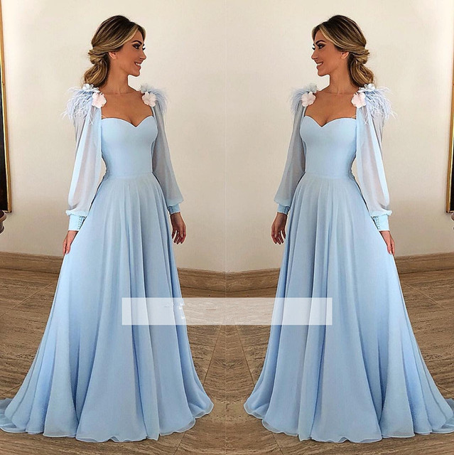 Sky Blue Muslim Evening Dresses 2019 A-line Sweetheart Long Sleeves Chiffon Plus Size Saudi Arabic Dubai Long Evening Gown Prom 1