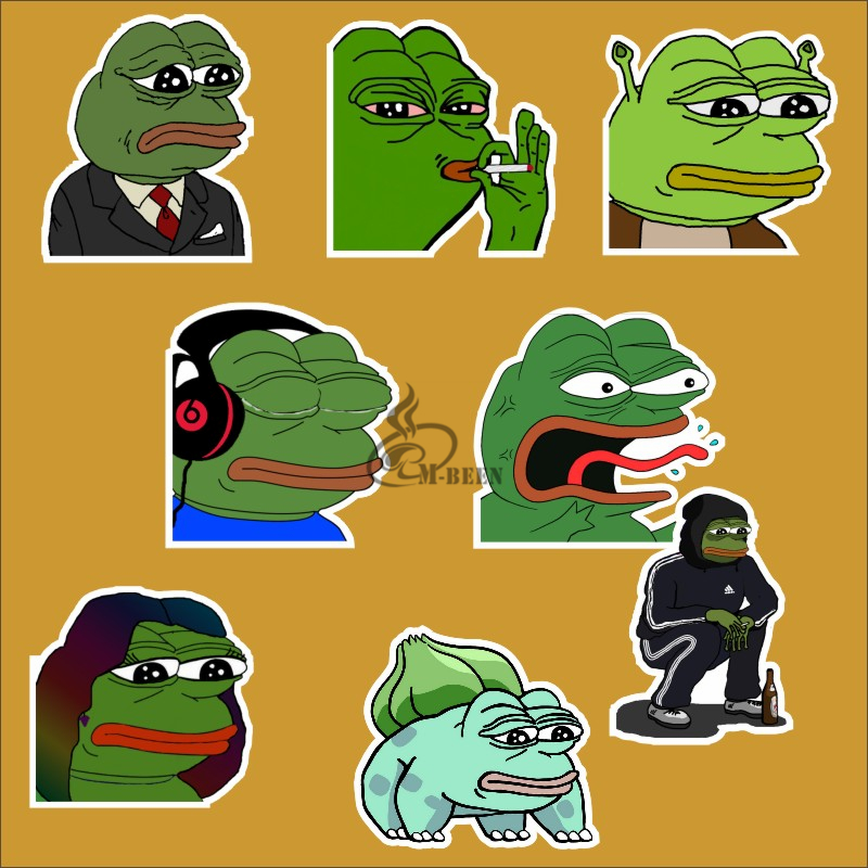 8Pcs/Lot Pepe Sad Frog Funny Sticker For Car Laptop Luggage Skateboard Motorcycle Snowboard waterproof Decal Toy decals