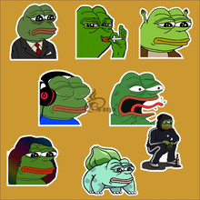 8Pcs/Lot Pepe Sad Frog Funny Sticker For Car Laptop Luggage Skateboard Motorcycle Snowboard waterproof Decal Toy decals(China)