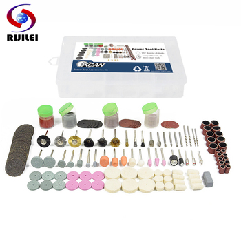 RIJILEI 228Pcs Rotary Power Tool Kits For Dremel Accessories Wood Metal Sanding Polishing Grinding Bit Set Polishing disc rijilei 136pcs dremel rotary tool accessory attachment set kits grinding sanding polishing sander abrasive for grinder
