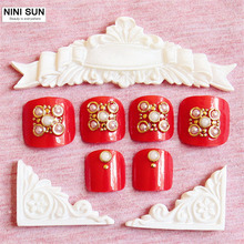 2016 Hot Sale Summer Toenails 24pcs Pearl Contracted French Jewelry Red Color Design Short Square Sculpt Full False Toe Nails