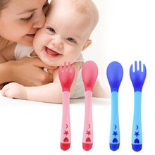 Baby Temperature Sensing Spoon and Fork Safety Silicone Feeding Flatware Baby Feeder Utensils Feeding Spoon Tableware Home(China)