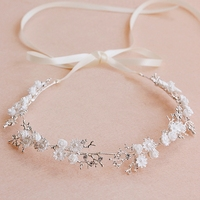 New Korean Styling Bride White Hair Headdress Flower Bridesmaid Wedding Hair Ornaments Honey Moon Jewelry Ribbon