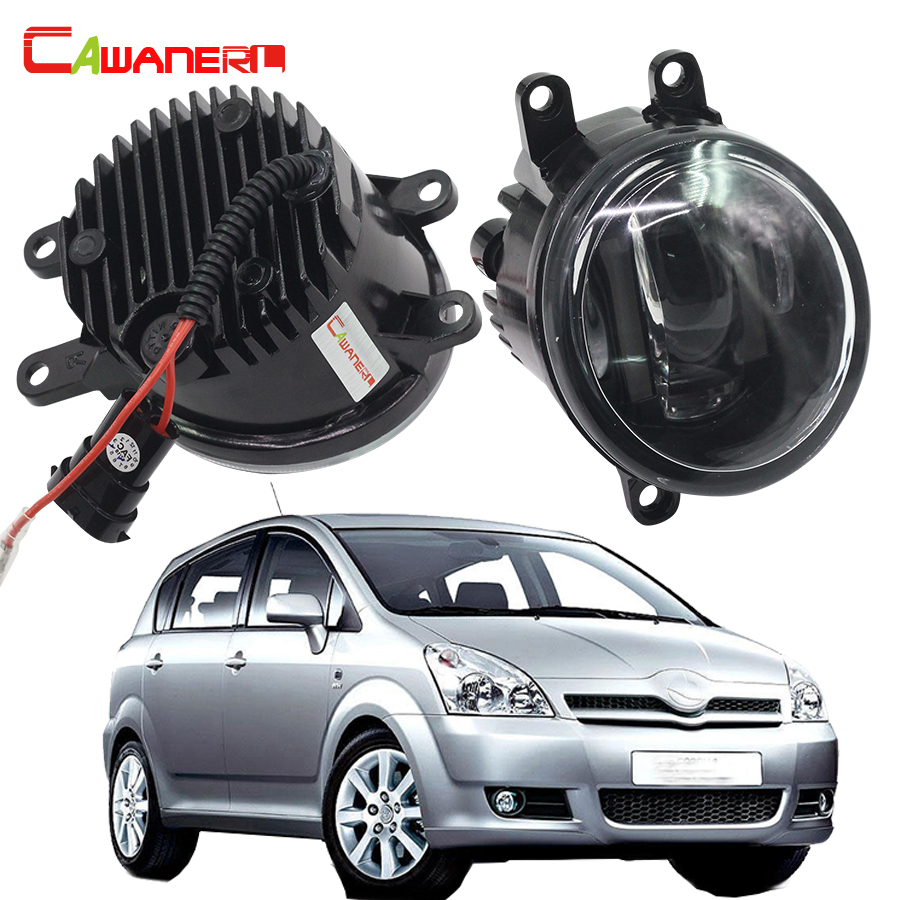 Cawanerl 2 Pieces Car LED Fog Light DRL Daytime Running Lamp White 12V Accessories For Toyota Corolla Saloon Verso MPV