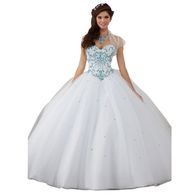 c98bb227dc 2017 Elegant White With Blue Stones Quinceanera Dress Cheap Long Tulle With  Jacket Sequined Prom Sweet 16 Dresses For Girls