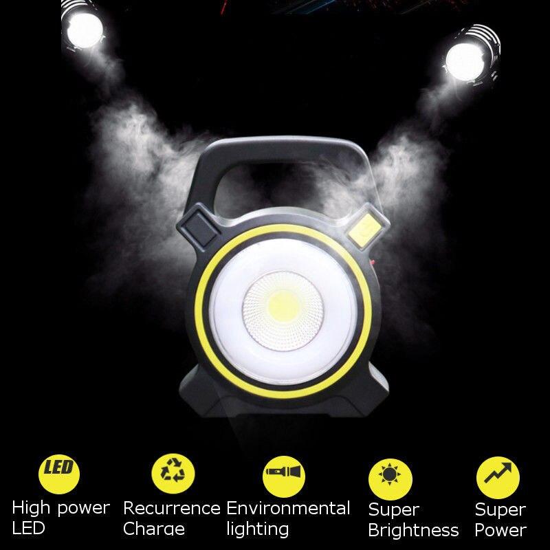 Rechargeable 30W Solar COB LED Portable Flood Light| Outdoor Garden Work Spot Lamp USB