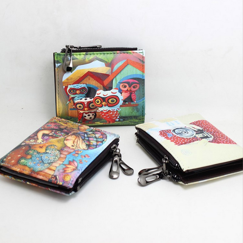 Hot Sale!Short Cartoon Style Graffiti Printing Woman Wallet Double Zipper Coin Purse Multifunctional Hasp Ladies Wallet MT100924 new next fall girls graffiti sets european and american style printing zipper cardigan cartoon princess hot sale children s sets