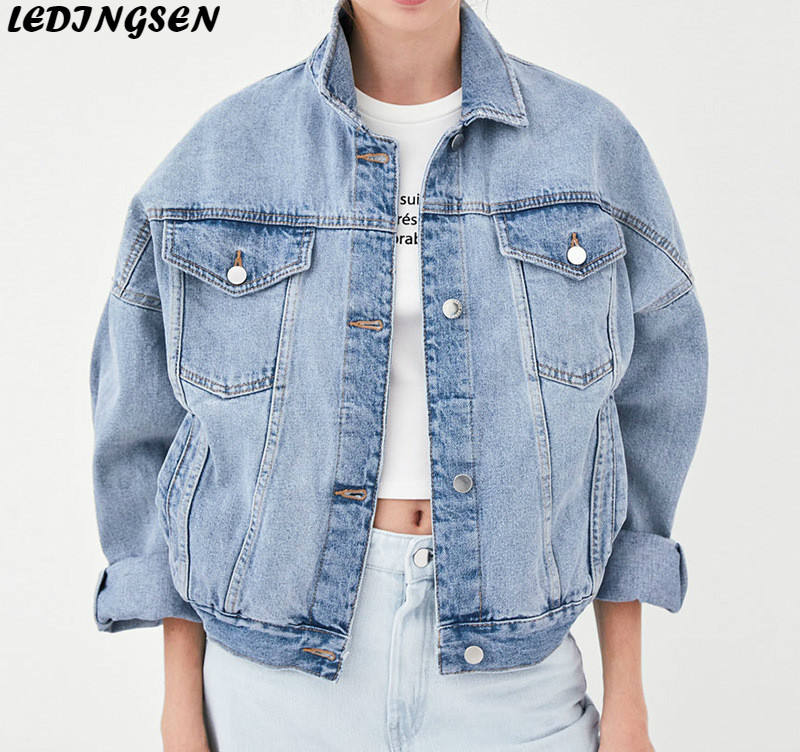 LEDINGSEN Womens Short Oversized Blue Denim   Jacket   Jeans Bomber   Basic     Jacket   Hip Hop Streetwear Cotton Casual Outwear Coats