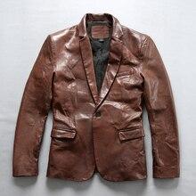 Мужской приталенный Блейзер из натуральной кожи с одной пуговицей, повседневные кожаные костюмы, мужская куртка из овечьей кожи с отворотом для мужчин