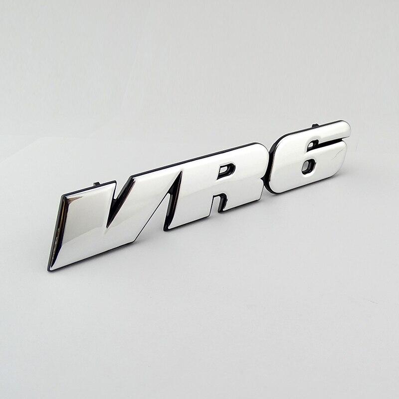 Chrome 3D Sticker VR6 Car Grill Badge Emblem Decal MK3 Grille Auto Logo for VW Golf Corrado Jetta Passat