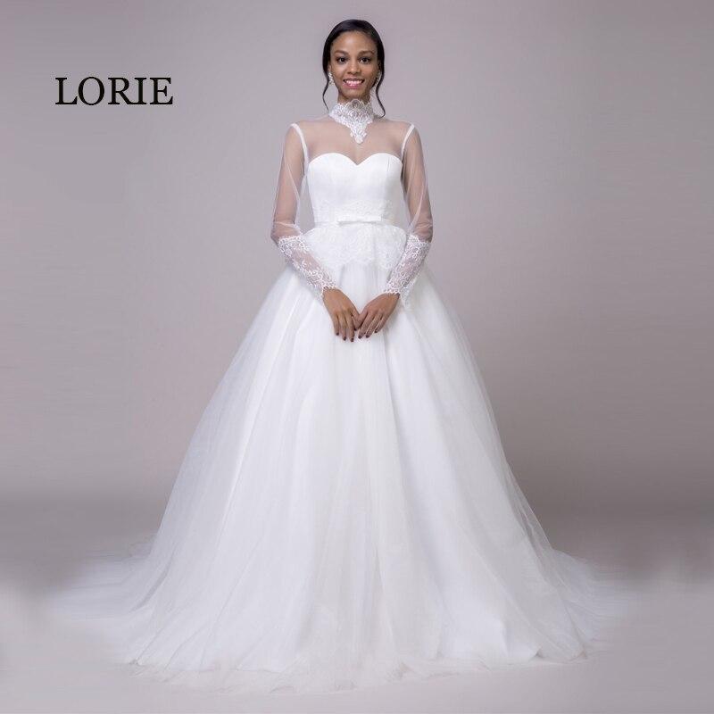 Лори с длинным рукавом свадебное платье 2018 высокое Средства ухода за кожей Шеи Аппликации Кружево на спине белый Арабский свадебное платье