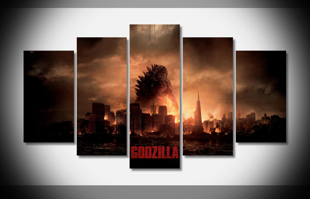 P0325 Godzilla 2014 Monster Fighting Hot Movie Background Poster Framed Gallery wrap art print home wall decor wall picture