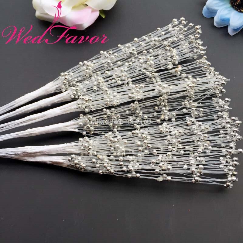 WedFavor 100 шт серебряные 20 см ручной работы жемчужные пластиковые бусины с проволочные стебли для свадебного украшения цветочные аксессуары для волос