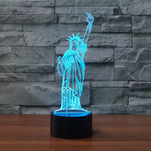 3D Statue of Liberty LED  Night Light Touch 7 Colors Desk Lamp Changing USB Table lamps For Kid Gifts Toys Decoration acrylic 7 colors changing animal horse led nightlights 3d light led desk table lamp usb 5v lamps for home decoration
