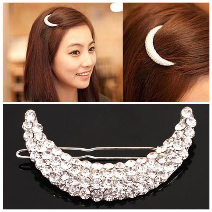 Hot Cute Elegant Hairpin For Women Girls Diamante Moon Headwear Hair Clip Hair Accessories Drop Shipping Headwear-0047