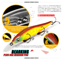 Great Discount!Retail fishing lures,assorted colors quality Minnow 110mm 14g,Tungsten ball bearking 2017 model crank bait