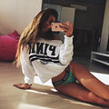 Hoodies Letter printed Pink Sweatshirts 2017 Spring Solid Color Dew shoulder Fleece Long Sleeve Loose Fashion Sexy Tracksuit