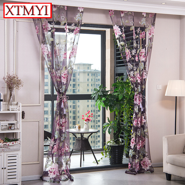 paars bloemen tulle gordijnen keuken gordijnen woonkamer geel roze venster behandelingen kralen deur thuis gordijnen