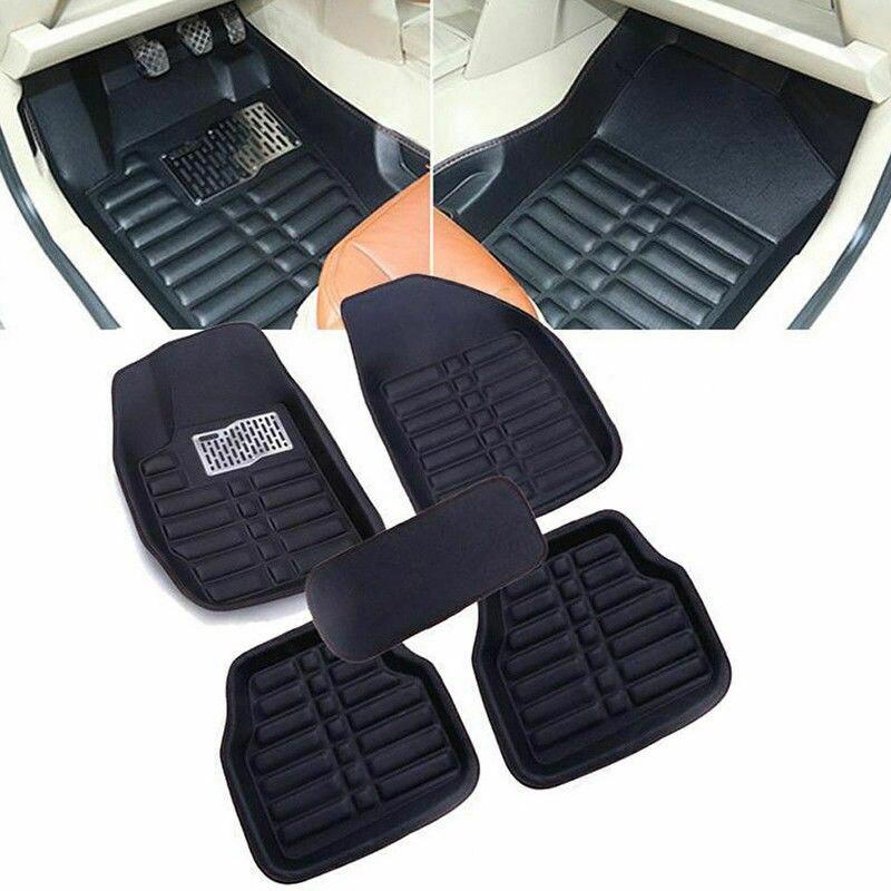5 pièces universel PU voiture tapis de sol Auto maroquinerie tapis de sol revêtement de sol avant arrière tapis tous temps tapis noir fournitures de voiture