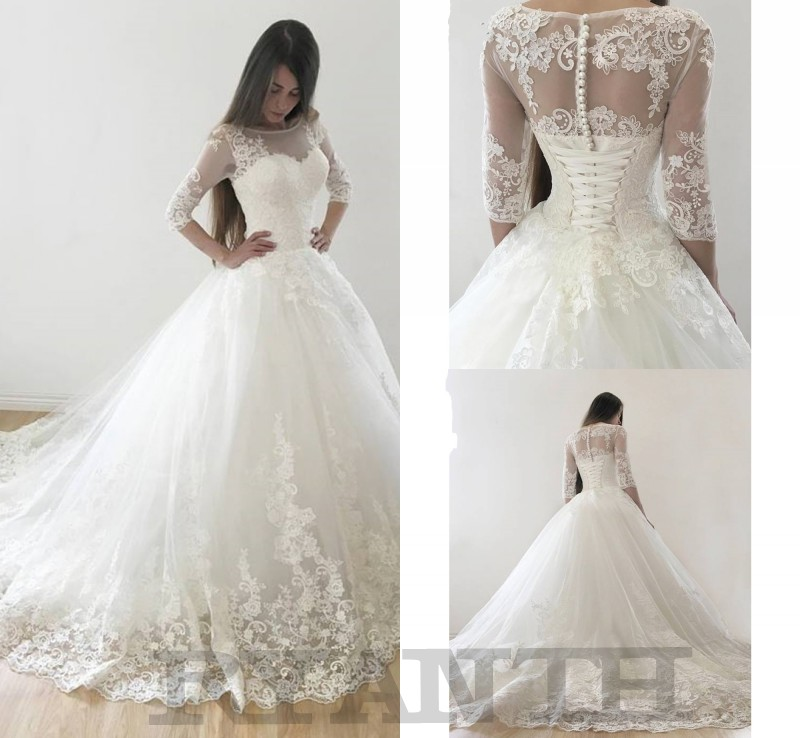 Vestido De Noiva Princess Ball Gown 3 4 Long Sleeves Lace Wedding Dress 2019 Cheap Lace