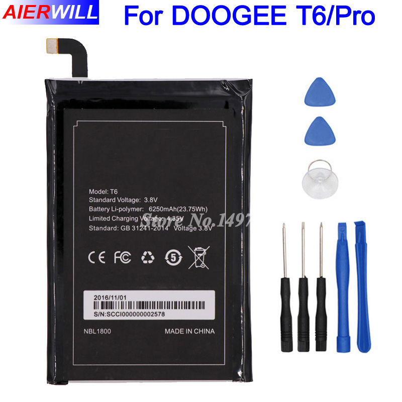 For Homtom HT6 Battery 6250mAh for DOOGEE T6 & T6 Pro Batterie Bateria Accumulator AKKU+Tools