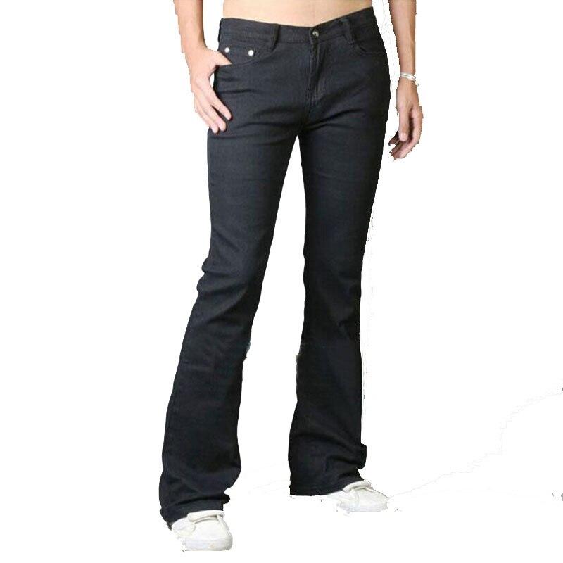 2017 New Mens Jeans Boot Cut Leg Flared Slim Fit Black Male Jeans Designer Classic Denim Jeans