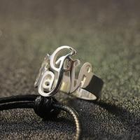 925 Solid Silver Custom Monogram Name Ring 3 Initals Name Ring Silver rings for Men