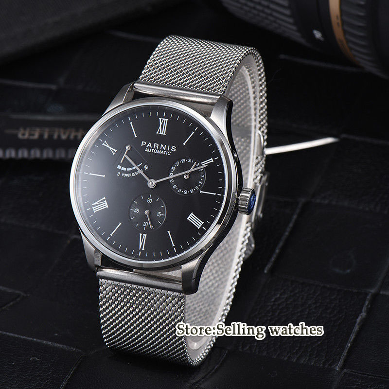42mm Parnis Black Dial ST1780  Power Reverse Date Small Second Automatic Mens Watch42mm Parnis Black Dial ST1780  Power Reverse Date Small Second Automatic Mens Watch