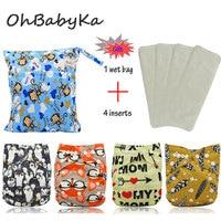 OhBabyKa Baby Diapers Reusable Pocket Cloth Diaper 4Pcs+ 4Pcs Microfiber Insert+1pc Nappy Bag Adjustable Baby Nappies Cover