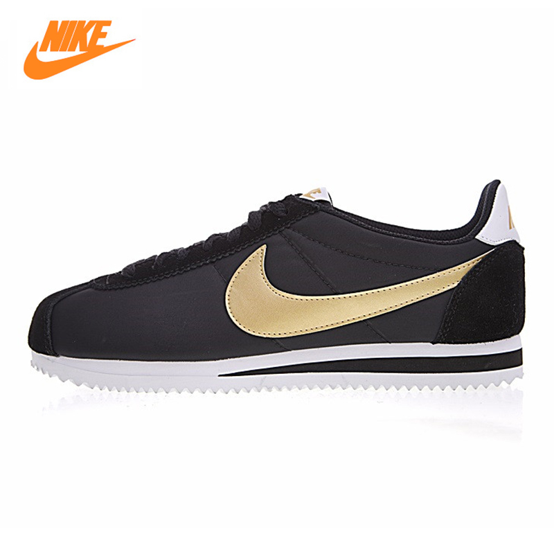 NIKE CLASSIC CORTEZ NYLON Men's Running Shoes, Outdoor Sneakers Shoes, Black & Gold, Lightweight Breathable 807471 012 original nike classic cortez nylon men s skateboarding shoes 532487 sneakers free shipping