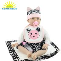 NEW 22in 55cm Reborn Baby Rebirth Doll lifelike baby Kids Gift Cloth Material Body toys for Kids Drop shipping