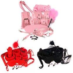10 pçs/set sexy casal adulto brinquedo sexo bondage restrição algemas colar chicote rosa/preto/vermelho exótico acessórios