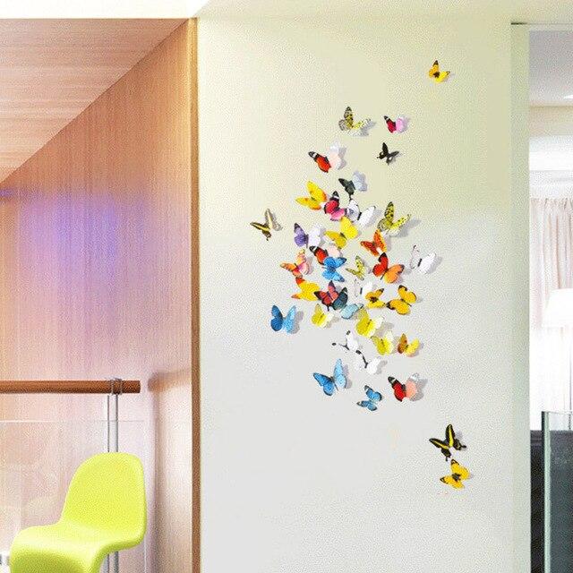 Keythemelife 12 teile/los Schmetterling Wand Aufkleber Doppel ...