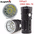 High Quality XLightFire 25000LM 10 x CREE XM-L T6 LED Hunting Flashlight 4 x 18650 Lamp Torch