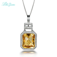925 Silver Plated Platinum Natural Citrine White Cubic Zirconia Fashion Romantic Party Pendant For Woman Gift