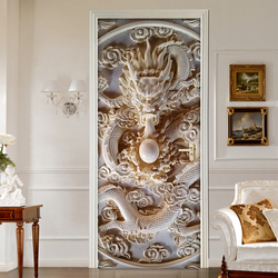3D Jade Carving Relief Door Stickers For Living Room Bedroom PVC Self-adhesive Wallpaper Home Decor Mural Waterproof Wall Decals