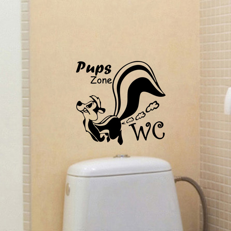 Image 4 - Skunk Farting Toilet Sticker Toilet 23*24cm Removable Seat Wall Sticker Vinyl Decal Home Decor For Bathroom Glass Washroom-in Wall Stickers from Home & Garden