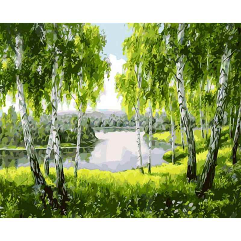 Landscape Framed Pictures DIY Painting By Numbers Wall Art Acrylic Painting On Canvas Drop Shipping For Wedding Decor GX25867