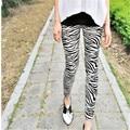 Black And White Zebra Pattern Leggings For Female Women' Pants Trousers Bottoms Thin FundsSuper Personality Slimmer 9z-XDK-001