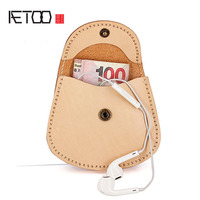 AETOO Vegetable tanned cowhide coin bag women's hand stitching mini condom storage bag leather retro coin purse
