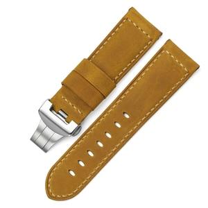 Image 4 - 24 milímetros Itália Couro faixa de Relógio Amarelo Macio Watch Band Cinta com Fivela de Implantação para 24mm PANERAI Relógios Pulseira