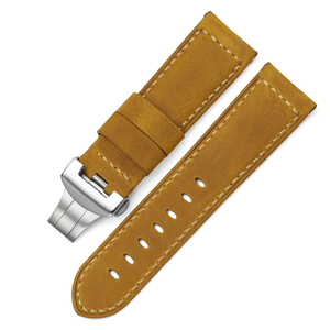 Image 4 - 24mm Italy Genuine Leather Watch band Yellow Soft Watch Band Strap with Deployment  Buckle for 24mm  Watches Bracelet